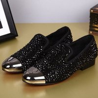 Wholesale Shoe Adornment - New Fashion Men Shoes Leather Shoes Men's Flats Shoes Low men Oxford Shoes Rhinestone adornment Loafers for male