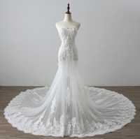 Wholesale Strapless Mermaid Wedding Gowns - Strapless Sexy Wedding Dresses Sweep Train Lace Applique Sequin Lace Up Mermaid Custom Made Wedding Gowns