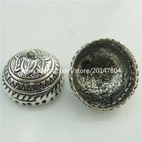 Wholesale Beads 23mm - 18717 2x Vintage Silver Totem Lotus 23mm Beads Cap Filigree Tassels End Pendant
