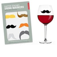 Wholesale markers wedding table - Staches Silicone Drink Markers, Set of 6 New For Wedding Table Deco Red Wine Cup Glasses Marker