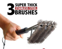 Wholesale best resistance - Hot BBQ Grill Brush 3 Stainless Steel Brushes in 1 Best Barbecue Cleaner Tools Accessories Outdoor Kitchen Wire Bristles Cleaning Grates Par