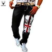Wholesale British Flag Sale - Wholesale-High Quality 2016 New Brand Fashion Casual Men Jeans British Flag Print Pants Hot Sale Washed Jeans Sports Elastic Jeans