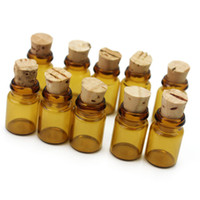 Wholesale empty message bottles - Wholesale- 10pcs Lot Mini Clear Brown Empty Glass Wishing Bottle Vials Jars Container With Cork Stopper Tiny Drifting Message Bottles Gift