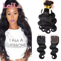 kaufen menschliches haar weben großhandel-Brasilianisches Haar 3 Bundles mit Schnürverschluss 4 stück Unverarbeitetes Menschenhaar Remy Hair Weaves Body Wavy Buy bundels Get Closure