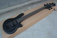 guitarra 9v venda por atacado-Bongo Music Man 6 Cordas Baixo Erime Bola StingRay Matte Black Guitarra Elétrica 9 V Bateria HH Captadores Ativos Preto Pickguard Preto Hardware