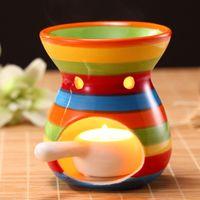 Wholesale Aroma Burner - 8.5X11.5 CM Rainbow Color Ceramic Candle Aromatherapy Furnace Aroma Burner Incese Base Home Decor Lady Favor DEC084