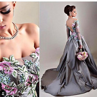 Wholesale Long Sleeved Gold Prom Dresses - Silver Gray Delicate Evening Dresses 2017 Off Shoulder Illusion Sleeved Embroidery Taffeta Ball Gown Prom Dresses Sexy Backless Fall Gowns