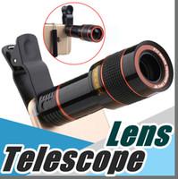 teleskop mobil für iphone großhandel-Teleskop-Objektiv 8x Zoom unniversal optische Kamera Telefoto len mit Klipp für Iphone Samsung HTC intelligentes Handy Handy Sony-Mobile