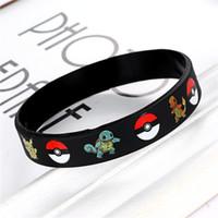 Wholesale Wholesale Toy Bracelets - 50 pcs Poke Go Silicone Bracelets Kids Wristbands Soft Silicone Wrist Straps 4 Colors Figures Kids Toys Kids Gift Christmas Gift