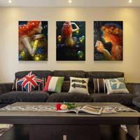 ingrosso trittico moderno d'arte-Vendita calda 3 Pannelli Tela Trittico Moderno Pittura Murale Wishing Sirena Sea-maid Decorativa Domestica di Illustrazioni Pittura su Tela Stampe 24 * 16in * 3