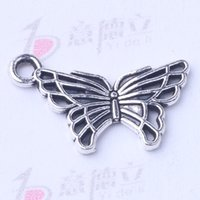 Wholesale Antique Bronze Charms Butterfly - Butterfly Pendant Fit Bracelets or Necklace retro antique Silver bronze Charms DIY Jewelry 500pcs lot 3006z