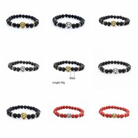 Wholesale Handmade Tibetan Beads Wholesale - Mix 8 Colors Handmade Lava Rock Yoga Bracelet Punk Agate Tibetan Silver Gold Lion Head Beads Stretch Bead Bracelets For Men Women