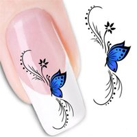 Wholesale Nail Foils Light - Beauty Butterfly French Water Transfer Nail Art Sticker Decal Kit Foil Adhesive Manicure Tips Decoration Accessories