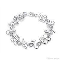 Wholesale Melody Accessories Wholesale - Music Melody Charms Bracelet 925 Sterling Silver Jewelry Classic Fashion Accessories for Women Girls Link Friendship Christmas Gifts