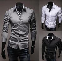 robes blanches élastiques achat en gros de-2017 Nouvelle Mode Casual Hommes Chemise Noir Blanc À Manches Longues Élastique Mâle Slim Chemise Hommes Solide Couleur Hommes Robe Chemises Hommes Vêtements