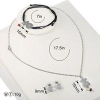 Wholesale woven pendant - TL Link Chain Bear Pendant Necklace Set Stainless Steel Nud Earring Jewelry Set Adjustable Woven Bracelet