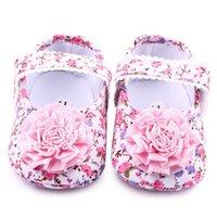 Wholesale Toddlers Ballet Shoes Pink - Wholesale- 2017 Pink Sweet Newborn Baby Infant Toddler Big Flower Shoes Princess Ballet Dress Soft Soled Anti-slip Footwear Shoes