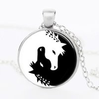 Wholesale Vintage Big picture glass cabochon necklace Necklace Silver Horse Vintage Horse Art glass dome pendant jewelry