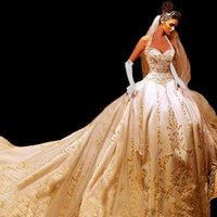 Wholesale Embroidered Halter Wedding Dress - Hot ! New 2015 Best Quality Custom Ivory Satin Gold Embroidered Halter A-Line Wedding Dresses With Royal Train 2015 Bridal Wedding Gowns