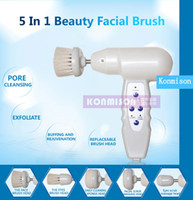 Wholesale Used Ac Machine - 2016 Newest 5 in 1 Facial Cleaning Brush Portable Rotary Electric Facial Cleaning Beauty Machine Suitable For Home Use Daily Use