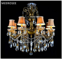 Wholesale antique brass bedroom lamps resale online - 8 Arms Bronze Finished Antique Crystal Chandelier Lingting Luxurious Brass Crystal Lamp Lustre Suspension Light MD8504 D750mm H750mm