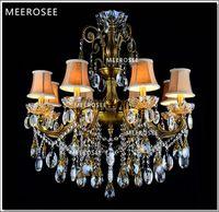 ingrosso cristalli di lampadari in bronzo-8 braccia bronzo finito antico lampadario di cristallo lingting lussuoso ottone lampada di cristallo lustre sospensione luce MD8504 D750mm H750mm