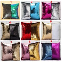 Wholesale patchwork cushion covers - 36 colors Double Sequin Pillow Case cover Glamour Square Pillow Case Cushion Cover Home Sofa Car Decor Mermaid Christmas Pillow Covers