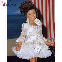 Wholesale Girls Long Glitz Pageant Dresses - Real Little Girl Gowns 3 4 Sleeve Beads Crystal Rhinestone Ruffles Short Flower Girl Dress 2016 White Glitz Pageant Dress