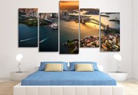 Wholesale Paintings Cityscapes - 5 Pcs Framed Printed Sydney Australia Cityscape Painting on canvas room decoration print poster picture canvas landscape oil painting