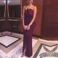 Wholesale Straight Slit Prom Dresses - 2016 Hot Sale Straight Burgundy Long Evening Dresses Strapless Off the Shoulder Stretch Satin Arabic Evening Prom Party Gowns with Slits