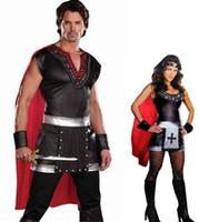 Wholesale Sparta Costume - Wholesale-Hero of Sparta roman warrior clothing ancient knight cosplay knight warrior halloween costume for adults