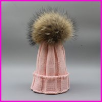Girl black beanie hat for baby - Winter Kids Fur Pom pom Hats Baby Knitted Beanie Real Raccoon Fur Cap For Boy Girl