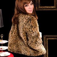 Wholesale Leopard Fur Button Jacket - Women Faux Fur Coat Leopard Winter Short Cut Jacket Fur Outerwear Thick Warm Overcoat Soft Comfortable Women Faux Fur Coat