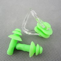 Wholesale Ear Plug Set Earplug - 2016 Olympic sports Underwater Nose Clip and Earplug Kit for Swimming Pure Silicone Ear plugs and Nose clips set Water sports goods
