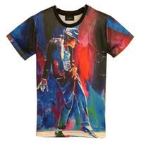 Wholesale brown 3d king online - tshirt New Fashion men s d T shirt print King of Rock Roll Michael Jackson d t shirt for men Boy Tshirt Asia M L XL XXL HT8