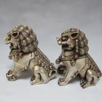 Wholesale foo dog statue pair for sale - Group buy Chinese Tibet silver carved guard Foo Dogs Lion pair statues