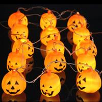 ingrosso luci d'arco arancione-Halloween 5M 20 LED Pumpkin LED String Light AC220V Orange Pumpkin Lights Decorazione di festa di Halloween Lanterne di luce
