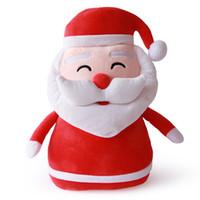 Wholesale plush christmas penguin - Stuffed Christmas Toy Soft Plush Santa Claus Cushion Christmas Deer Snowman Polar Bear Penguin Xmas Decor Toy Stuffed Animal Gift HANCHENTE