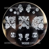 Wholesale Nail Stamping Art W - Wholesale- Beautiful Design Metal Nail Art Print Image Stamping Template Stamp Plate W series Full Cover Hot Lace Pattern W205