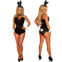 ingrosso costume coniglietto nero della ragazza-Black Bunny Zentai Suit Sexy Bunny Cosplay Tuta coniglio uniforme tentazione Tuta discoteca Coniglio Ragazza Costume