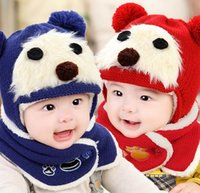 Wholesale Hat Scarf Bear Pink - Kids Boy Girl Winter Warm Bear Caps Scarf Two Piece Sets Cashmere Ear Fla Hats Baby Accessories 3-36M MZ3165
