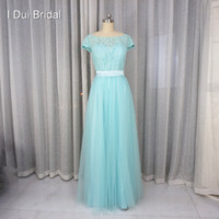 Wholesale Gold Pool - Pool Blue Bridesmaid Dress A line Short Sleeve Lace Tulle with Belt Maid of Honor Formal Dress
