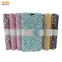 Wholesale Case For Iphone G - 2016 Wallet Case iphone 6s Case Diamond Case Iphone 6 Case LG K7 G Stylo LS770 Bling Bling Case Crystal Galaxy S7 PU Leather Card Slot Case