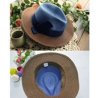 Wholesale Wholesale Straw - 5 Pcs lot Brand New Womens Fashion Summer Straw hat Sun hat Folding Travel Beach Cap With Lovely Bow Free Shipping[CA03201*5]