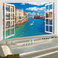 Wholesale Sunflower Removable Wall Decals - 60*90cm 3D Fake Windows Waterproof Wall Stickers Wallpaper Wall Art DLX0997C City River Sunflower
