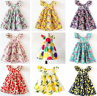Wholesale Ruffle Pleats Girls - INS Cherry lemon Cotton Backless DRESS girls floral beach dress cute baby summer backless halter dress kids vintage flower dress 12colors