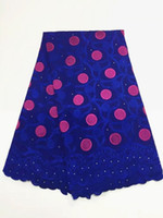 Wholesale Swiss Voile Lace Sale - 5 Yards pc Top sale royal blue embroidery african cotton fabric and fuchsia flower design swiss voile lace for clothes BC156-5