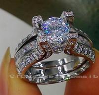 Wholesale Retro Topaz - Wholesale free shipping fine Retro 10kt white gold filled GF white topaz Gem Simulated Diamond Engagement Wedding Ring set with box