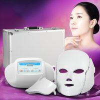 красота лицо привело световой терапии оптовых-3 в 1 Свет Фотон терапия LED маска для лица Омоложение кожи PDT уход за кожей красота машина лица шеи использование с микротоковым электродом массаж