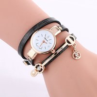Wholesale Crystal Pendant Watches - 2016 wholesale women diamond crystal leather bracelet watch fashion pendant ladies dress quartz watches simple design wristwatch